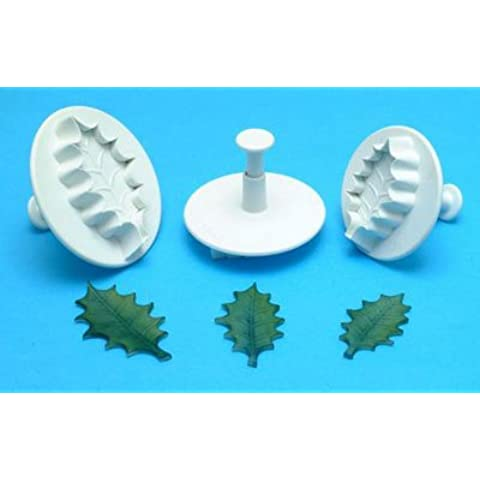 Set di 3pezzi di piccole foglie di agrifoglio Plunger Cutters fondente torta decorazione by Mister chef®