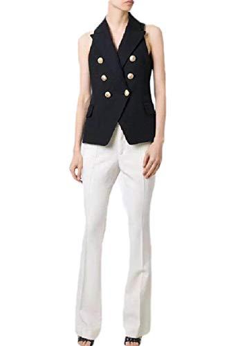CuteRose Women Notch Lapel Patch Fit Double-Breasted Vests Sleeveless Blazers Black S -