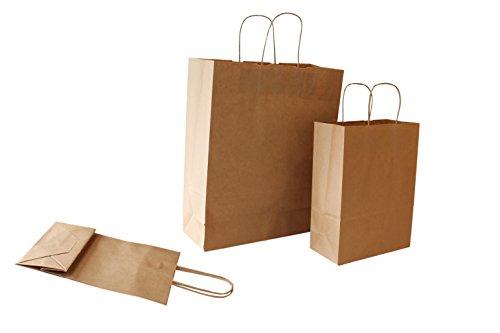PGV Papiertragetaschen mit Kordelhenkel BRAUN / Avana 100 g/m² (22 + 10 x 29 cm, 50 Stück)