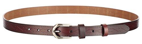 Motase Mujer Cinturón de Cuero Para Pantalones Vestido Cinturón de Jeans con Hebilla de Metal Cepillado Marrón M