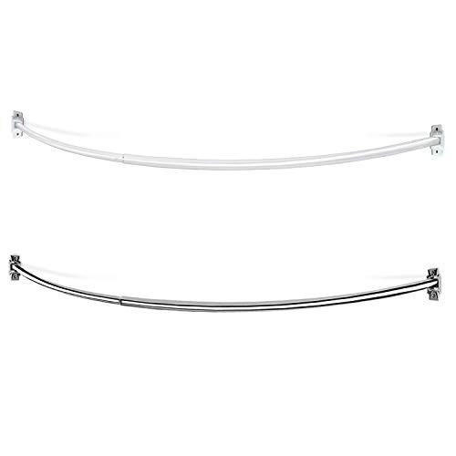 Bastone doccia curvo - asta tenda semi-circolare   estensibile, telescopico, regolabile in lunghezza   due colori, misura allungabile - da 106 a 183 cm - bianco