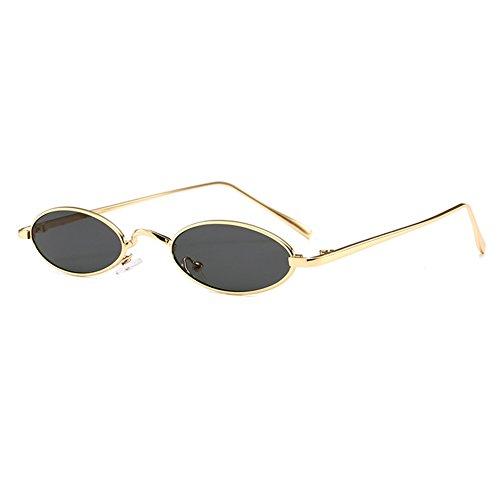 Mxssi kleine ovale Sonnenbrille für Männer Frauen Retro Metallrahmen gelb rot Vintage Sonnenbrille C2