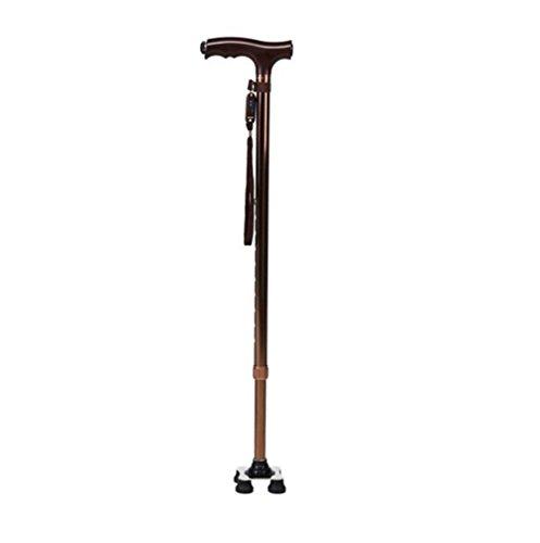 MTTLS Krücken Einstellbare Höhe Falten Walking Stick Cane mit Pivoting Quad Cane Base Tip für Männer und Frauen Multifunktions Walking Cane mit LED Taschenlampe LED Licht 73.5-95.5CM, - Cane Quad Faltbare