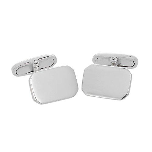 Boutons de Manchette Rectangles en Or Blanc 9 Carats - A Tête Pivotante