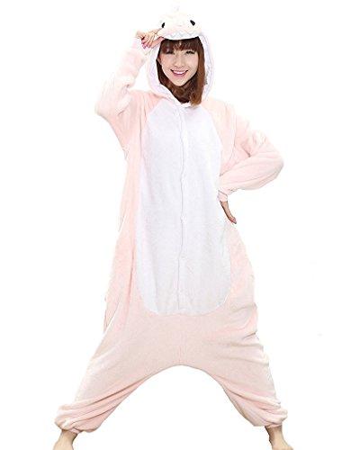 Dinosaurier Drachen Ganzkörper Tier-Kostüm für Erwachsense - Plüsch Einteiler Overall Jumpsuit Pyjama Schlafanzug - Rosa - Gr. L