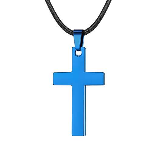 FaithHeart Leder Halskette mit KreuzAnhänger, Edelstahl Christlich Kreuz (Blau) Minimalist Unisex Collier für Männer Frauen Jungen Mädchen