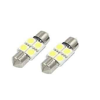 sourcingmap® Ampoule LED plafonnier SMD blanc DC 12V 4 5050 30mm 2 pièces