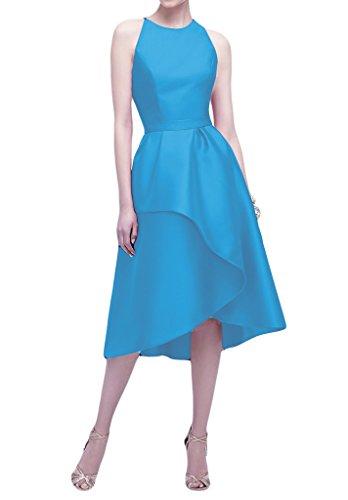Promgirl House Damen Elegant Satin A-Linie Ballkleider Partykleider Cocktailkleider Abendkleider Kurz Blau