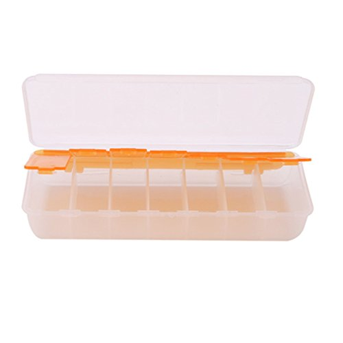 L shop Große Reise Pille Fällen Tragbares 7Tage Medizin Box Tablet Lagerung Organizer Container Fall Colorful Pille Cutter 15.5*6.1*2.8cm Orange (Große Pille Fall)