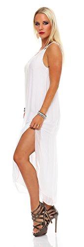 Damen Seiden / Viskose Kleid, Zweilagig, Maxikleid Sommerkleid Strandkleid Weiß