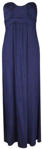 Vestito lungo estivo da donna, senza spalline, drappeggiato Blu navy