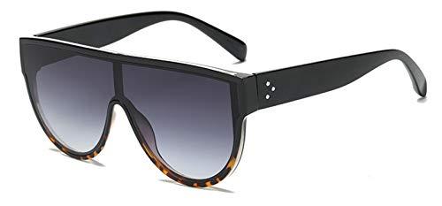 Fashion Flat Top Damen Sonnenbrille, Nageldekoration, Retro-Look, mit integrierten Gläsern, UV400 Gr. Einheitsgröße, Black Leopard Grey