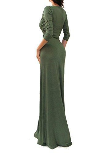 Ecowish Donna Sexy Deep V Collo Partito Vestito Maxi Lungo Abito da sera Green