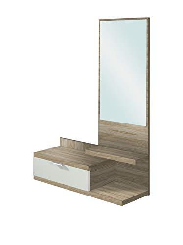 Habitdesign 016744W - Recibidor de un cajón y Espejo, Color Blanco Brillo...