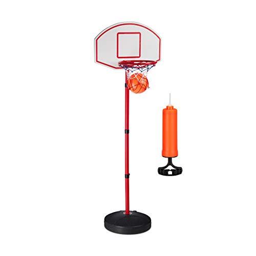 Relaxdays Basketballkorb Set f. Kinder, befüllbarer Ständer, mit Basketball, Pumpe, höhenverstellbar, 210 cm, Mehrfarbig, Standard