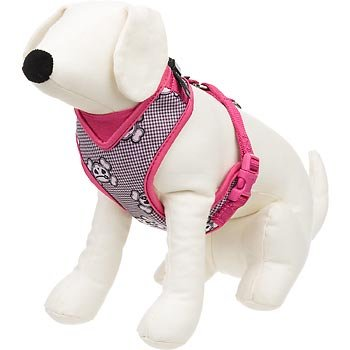 petco-adjustable-mesh-harness-for-dogs-with-pink-black-skulls-and-gingham-print