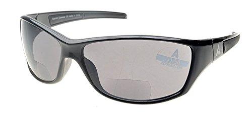 Atlantic Eyewear AE0045 Schwarz Sport Bifokale Lesebrille Sonnenbrille Damen und Herren inkl. Fest Reißverschluss-Etui, Reinigungstuch und Kabel (+1.00)