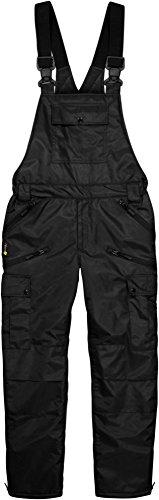Winter Herren Thermo Latzhose, gefüttert, wind- und wasserdicht, 6 Reißverschlusstaschen Farbe Schwarz Größe XL
