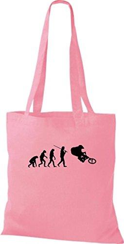 ShirtInStyle Stoffbeutel Jute Evolution Motorrad Fahrrad Biken Stunt Freebike Biker diverse Farbe rosa