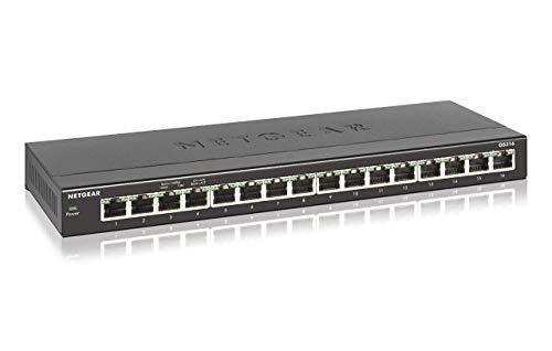 Netgear GS316 Switch Ethernet 16 porte Gigabit, Switch Unmanaged desktop, struttura in metallo senza ventole