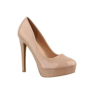 Elara Plateau Pumps | Moderne Damen High Heels | Stiletto Lack Schuhe C-1 Beige-40