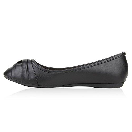 Damen Ballerinas Slipper Loafers mit Spitze Frühling in mehreren Farben 36 -41 Schwarz Brosche
