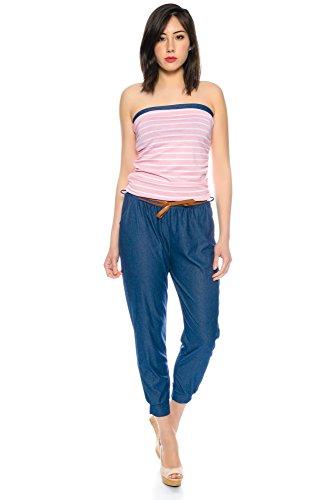 Kendindza Damen Kurz Overall Jumpsuit Shorts Einteiler Gemustert Lang Streifen Rosa