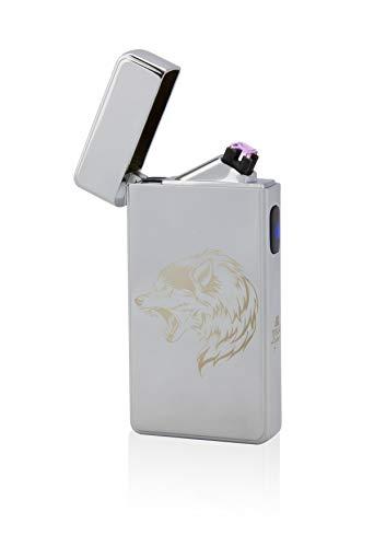 TESLA Lighter T13 Double ARC Silber INKL. Motiv Wolf