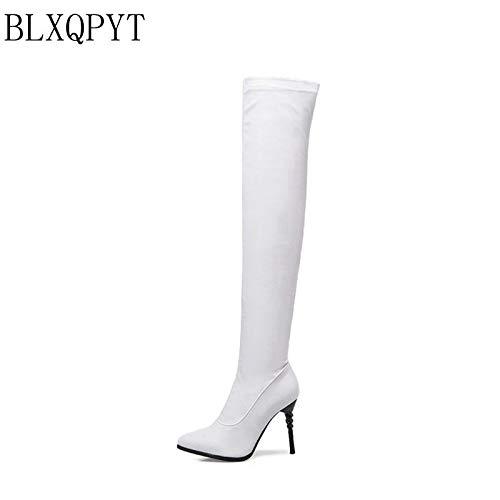 MENGLTX High Heels Sandalen Große Größe 31-50 Stretch Pu Womenutumn Winter Lange Stiefel Stilettos Overknee Stiefel High Heels Schuhe Frau 14 White -