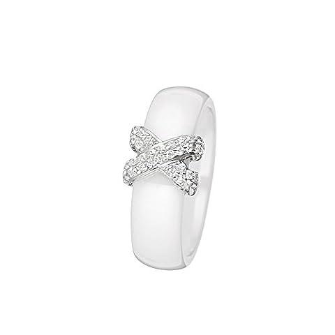 Mes-bijoux.fr - Bague Femme en Céramique Blanche et Argent 925/1000 - 7BJ6152WAgv_52