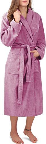 Circle Five Damen Bademantel, Sauna-Mantel, Morgenmatel aus 100% Baumwolle Oeko-Tex 100 [Gr. XS-4XL] Farbe Rosa Größe S