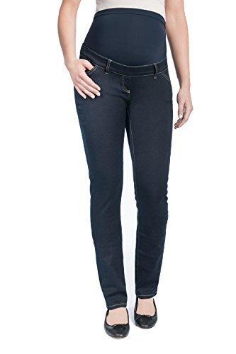 Christoff Schwangerschaftsjeans Umstandsjeans Five-Pocket-Jeans LEA - Straight Leg schlicht - elastisches Bauchband - 11/71/8 - dunkel-blau - 34 / L32 - Pocket Maternity Jeans Boot Cut