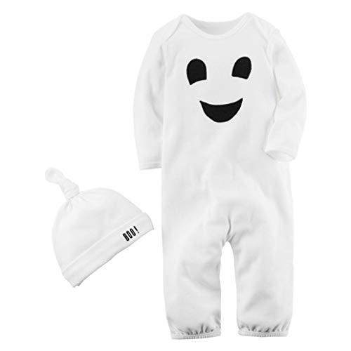 FORH 2 STÜCKE Kleidung Kostüm Halloween Baby Jumpsuit Jungen Mädchen Smiley-Gesicht Drucken Overall + Hut Set Outfit Langarm Romper