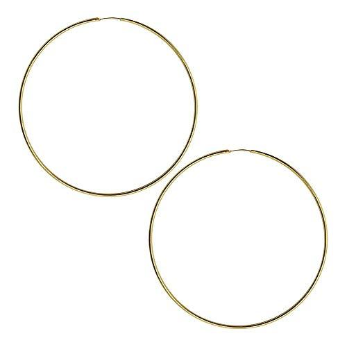 tumundo Creolen Creole Ohrringe 925 Sterling Silber 24 Karat Gold Echt Schmuck Ohrschmuck Ohr Glänzend Vergoldet Damen, Farbe:gold - 60mm