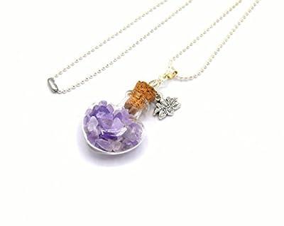 Pendentif fiole en verre pierre d'améthyste, pendentif bouteille en verre, vial, pierre d'améthyste, fiole coeur lithothérapie