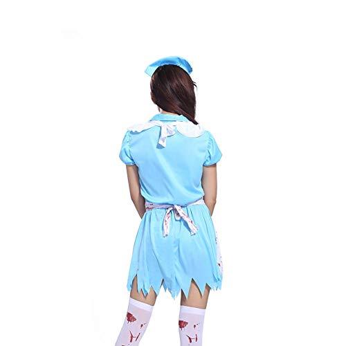 (Halloween Kostüme Cosplay Krankenschwester Kostüm Fancy Dress Kostüm Erwachsene Damen Horror Krankenschwester Bloody Doctor Kostüme Masquerade Parteien Hat weiße Schürze Anzug für Krankenschwester Party)