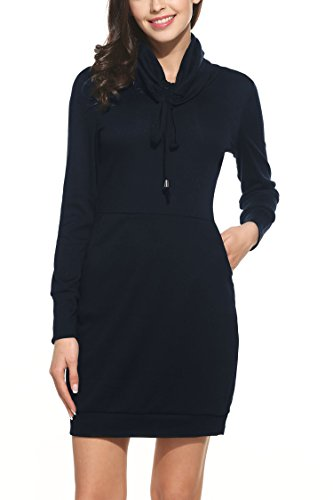 Zeagoo Herbst/Winter Damen Casual Kleid Strickkleid Rollkragen Langarm Warm Pullover Freizeitkleid Etuikleid Blau L