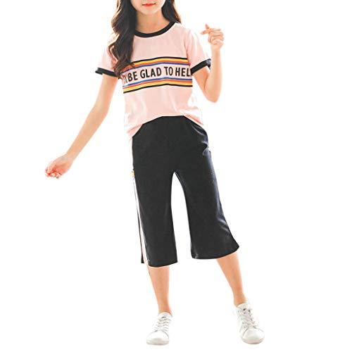 Julhold Teen Kinder Mädchen Mode Lässig Regenbogen Kurze Trainingsanzug Tops Lose Hosen Sport Anzüge Outfits 3-13 Jahre (Trenchcoat Teen)
