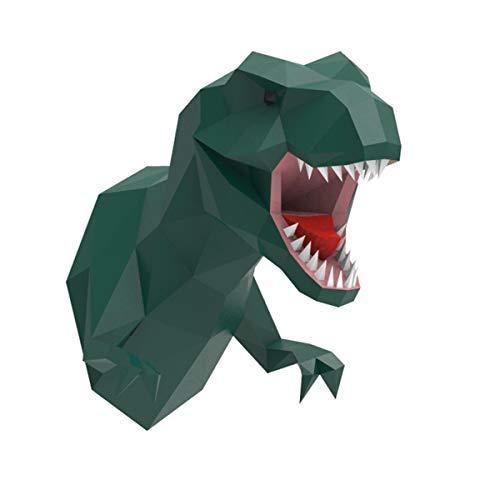 T-Rex 3D Kopf Wand, ENDARK DIY Papercraft Kopf Deko Wand Papercraft 3D Tyrannosaurus Rex Papier Trophäe (Grün)