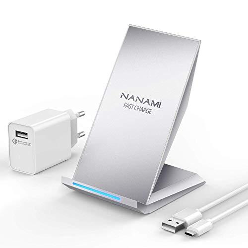NANAMI Extended-compromise re Wireless Charger, Qi Ladegerät für iPhone X / 8/8 Added to, drahtloses Induktive Ladestation (mit Quick Inroad 3.0 Adapter) für Samsung Galaxy S9 S8 Asset S7 S7 Sharpness und Alle Qi Fähige Geräte (Silber)