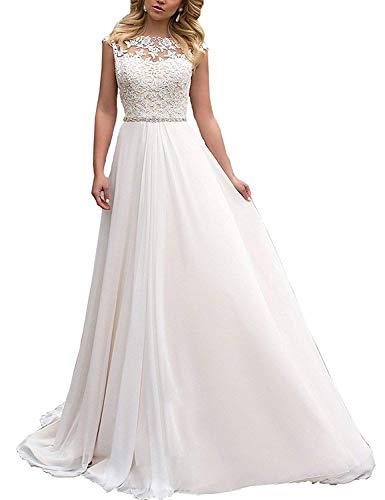 YASIOU Elegant Hochzeitskleid Damen Lang Hochzeitskleider Spitze Chiffon Brautmode Rückenfrei Weiß...