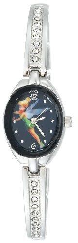 Disney Women's TK2007 Tinkerbell Blue Dial Silver-Tone Half Bangle Link Watch