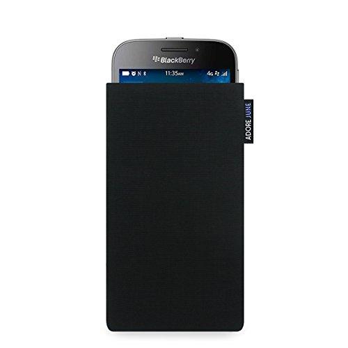 Adore June Classic Schwarz Tasche für BlackBerry Classic Handytasche aus widerstandsfähigem Cordura Stoff | Robustes Zubehör mit Display Reinigungs-Effekt | Made in Europe