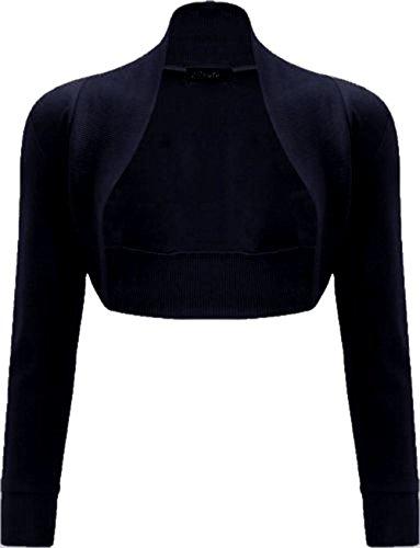 Janisramone donne cotone liscio costine top a manica lunga bolero scrollata di spalle Nero
