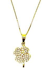 ab576a3bbc80 Pegaso gioielli – Collar Oro Amarillo De CT con Colgante Flor Trébol  circonitas – cadena veneta