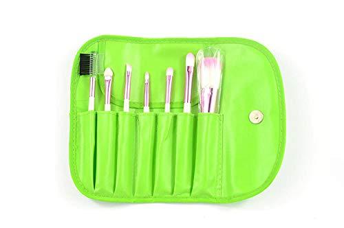 Beauty tools Großhandel 7 Make-up Pinsel Brieftasche tragbaren Make-up Pinsel Set@Grün (Großhandel Brieftaschen)