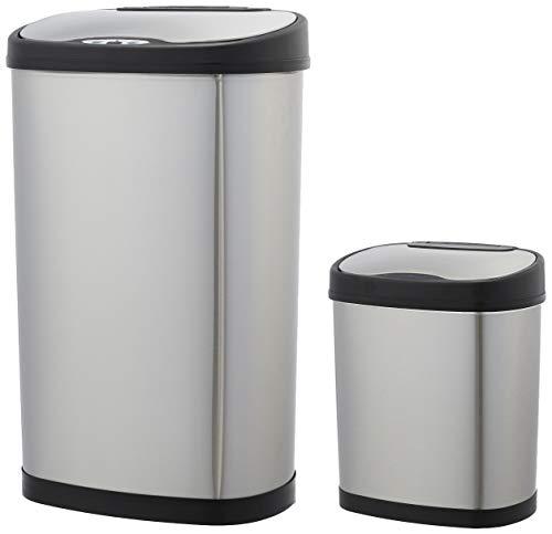 AmazonBasics - Set de cubos de basura automáticos, de acero inoxidable, 12 y 50 litros