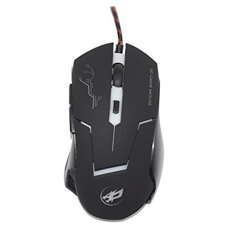 YAMAY(TM) Precision Optical Wired Lighting 6D USB 2.0 Gaming Mouse Mice 6 Button 0.8mm with LED Light Flashing 2400DPI Max Anti-Slip Professional for Computer Laptop Desktop PC Gamer Game black by YAMAY - Usb-ps/2 Optical Mouse