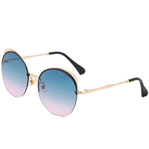 HQMGLASSES 2019 Katze Brille Gesicht Farbverlauf Flache Linse Street Fashion Metallrahmen Damen Sonnenbrille Schatten Sonnenbrille Uv400 geeignet für das Fahren/Strand,GreenPinkLens