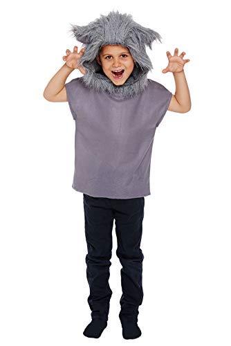 Kinder Wolf Kostüm - grau, Small (4-6 Years)